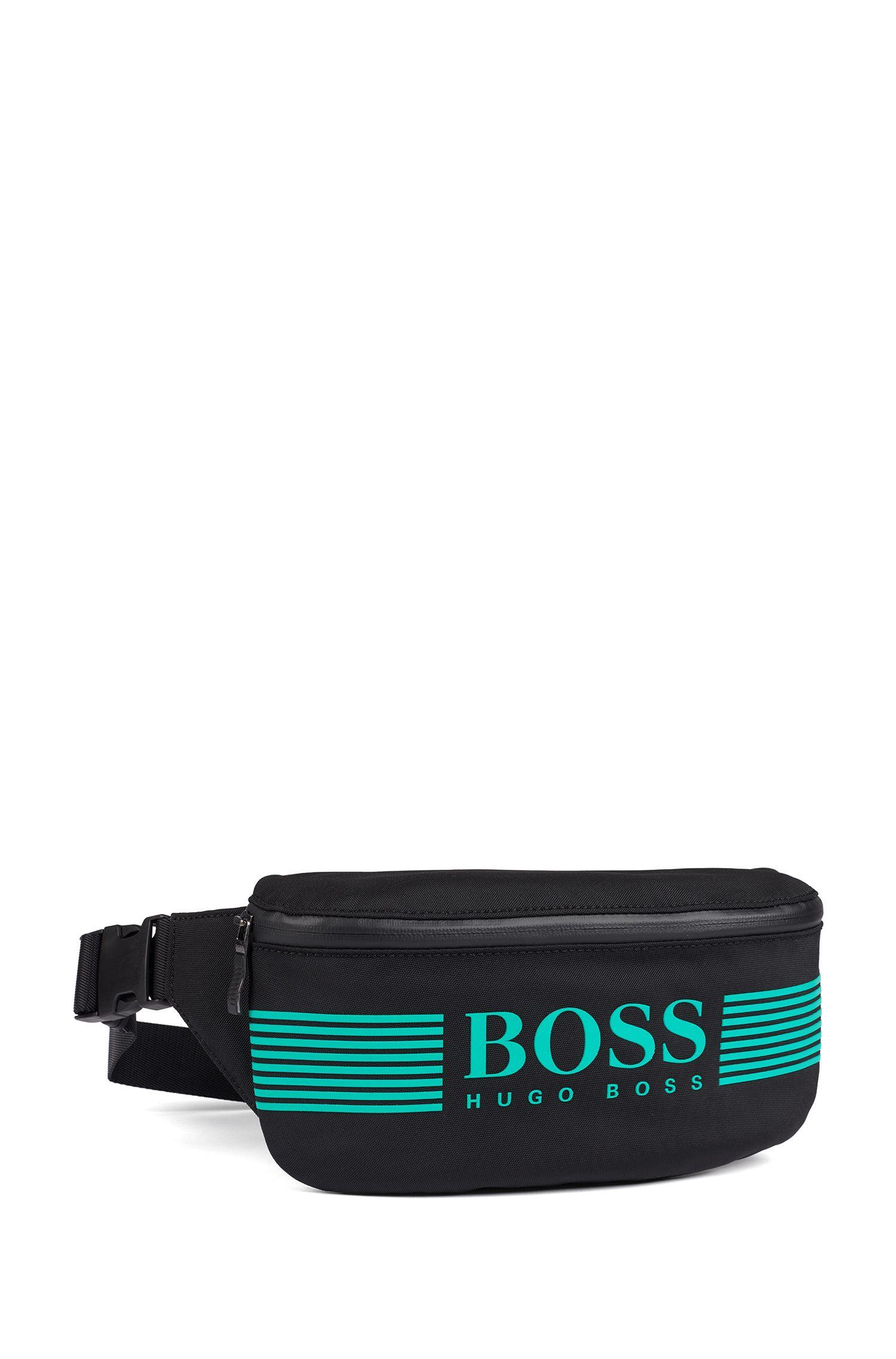 Logo belt bag in structured nylon, Black