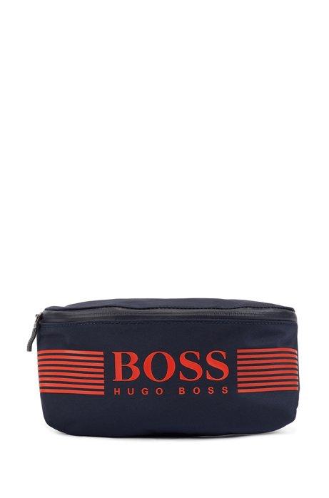 Logo belt bag in structured nylon, Dark Blue