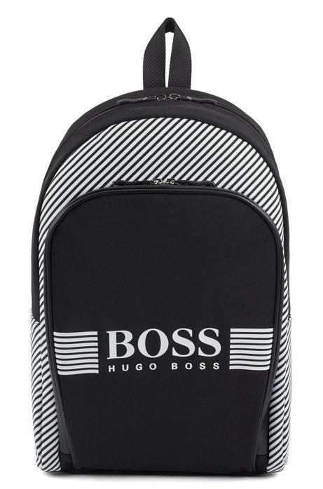 Zippered backpack in structured nylon with printed stripes, Patterned
