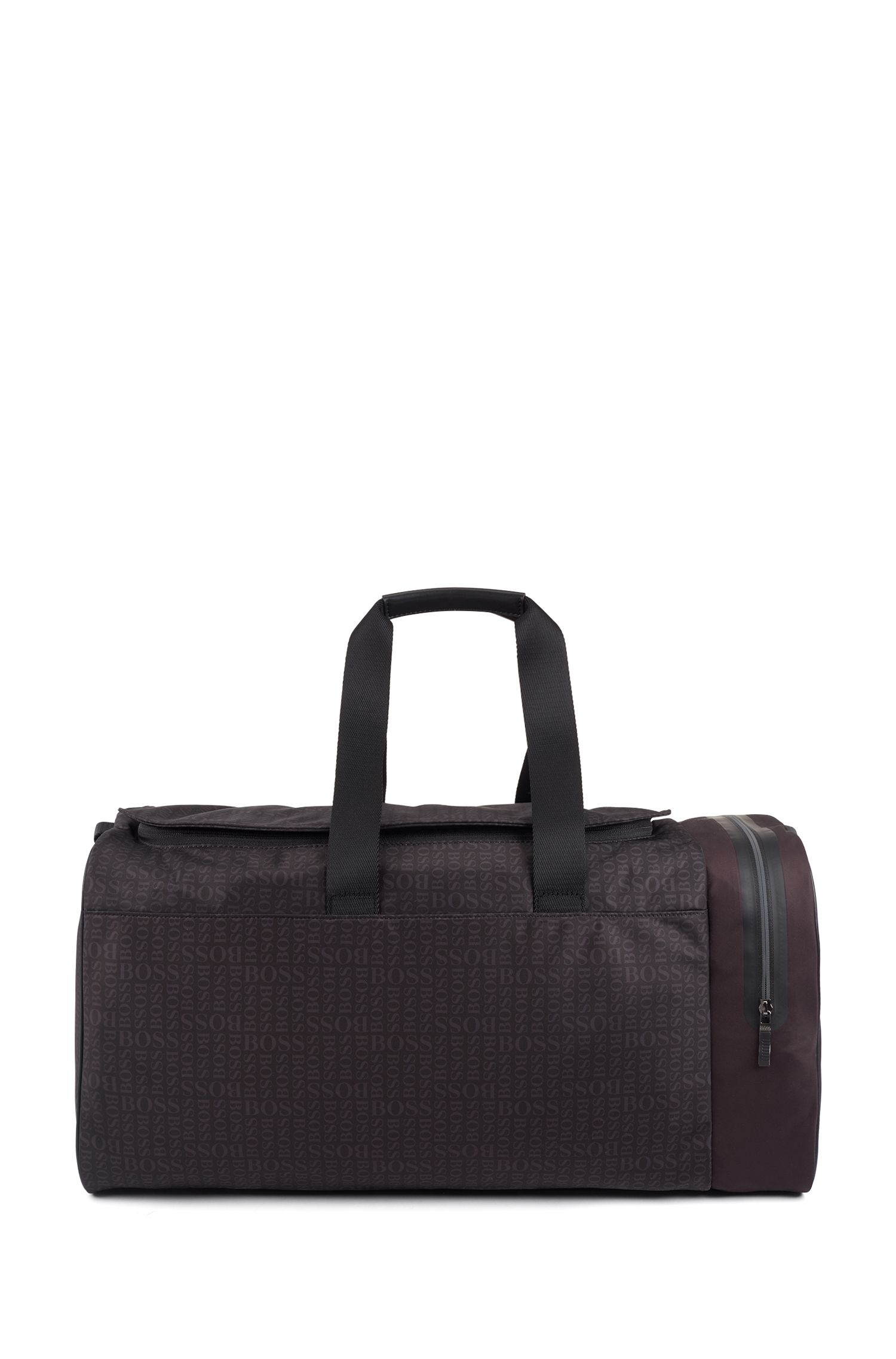 Logo-motif holdall in fine nylon, Black