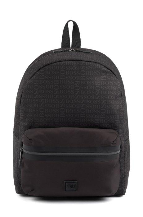Logo-print backpack in structured nylon, Black