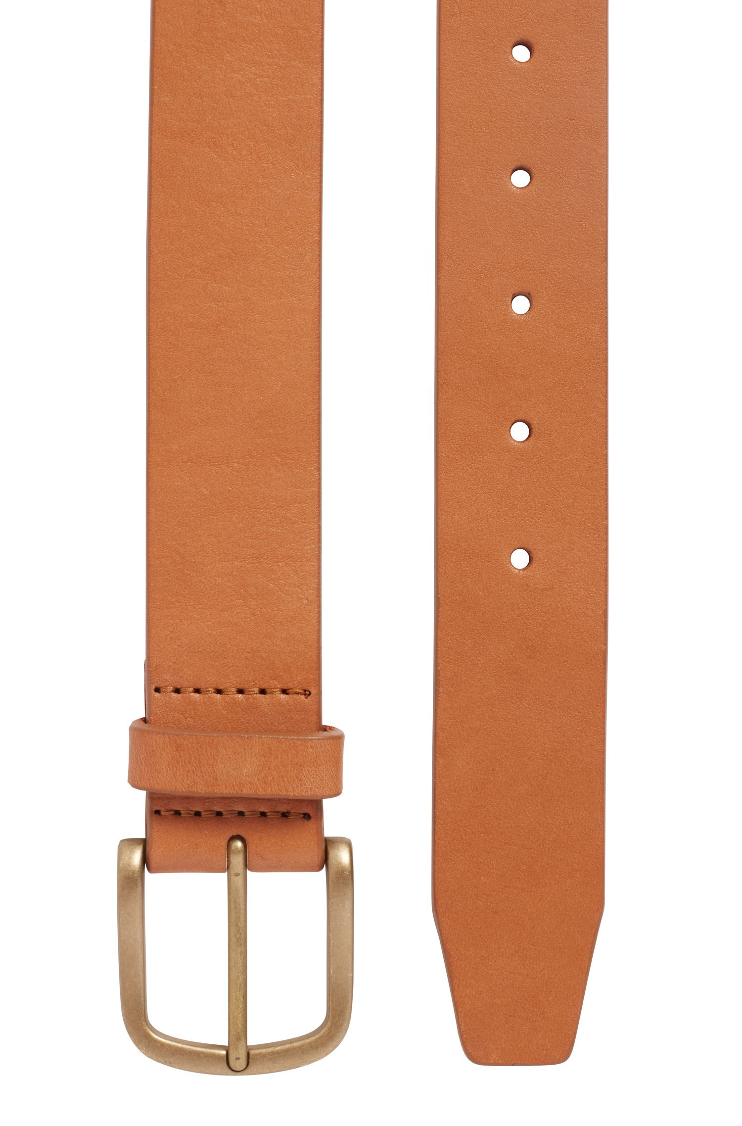 Brass-buckle belt in vegetable-tanned leather, Brown