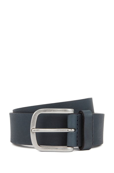 Brass-buckle belt in vegetable-tanned leather, Dark Blue