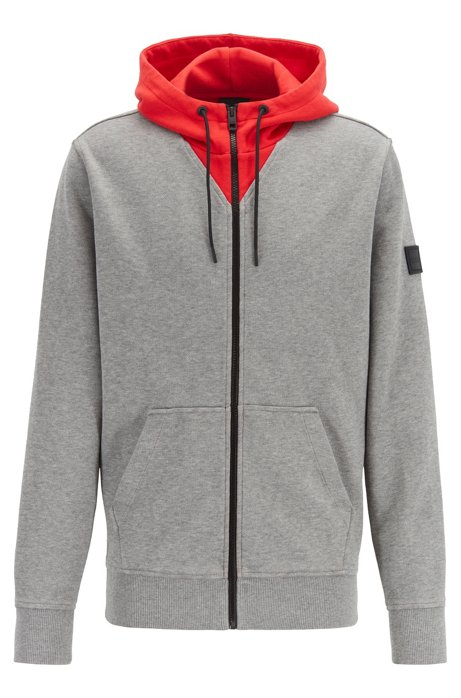 Relaxed-fit jersey jacket with pop-color accents, Open Grey