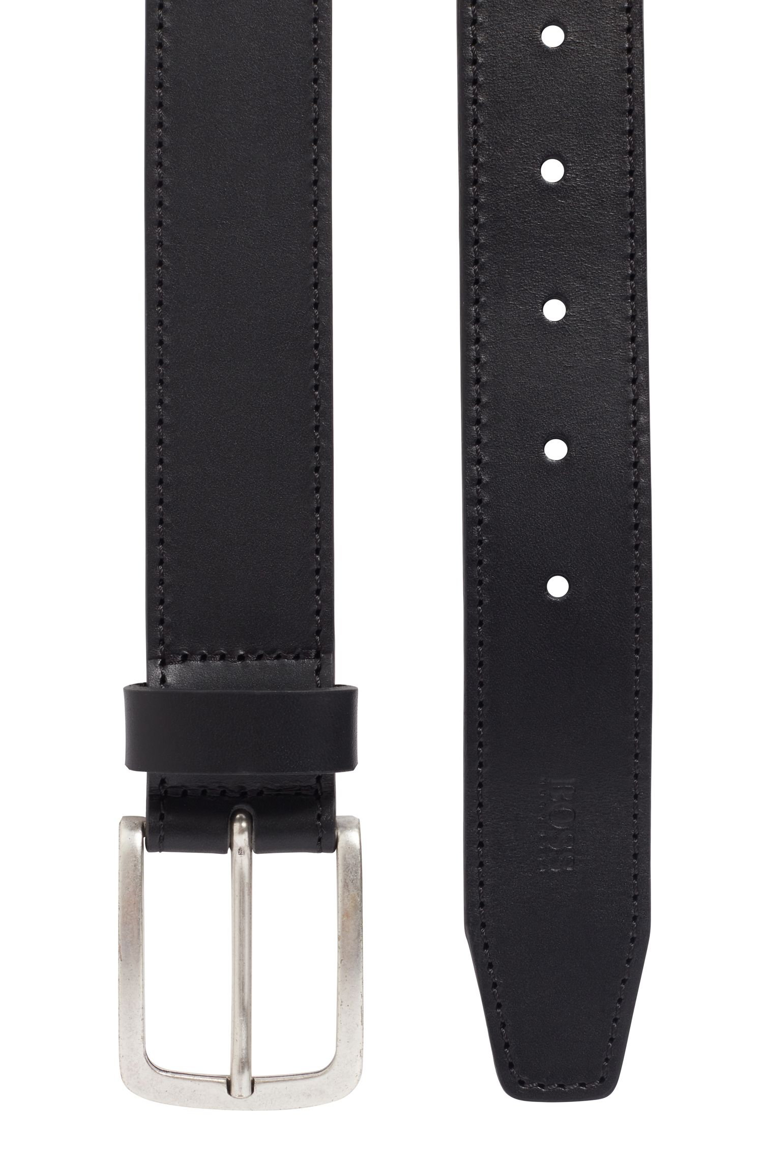 Pin-buckle belt in cuoio leather with seasonal stitching, Black