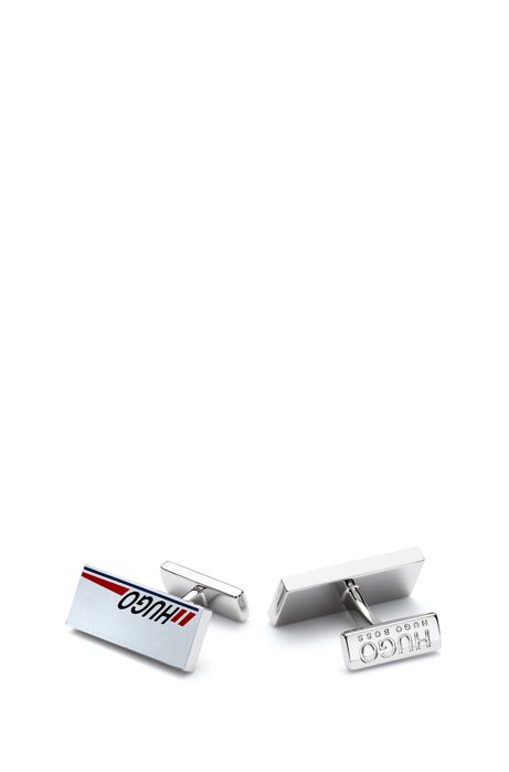 Rectangular cufflinks with logo-stripe design, Silver