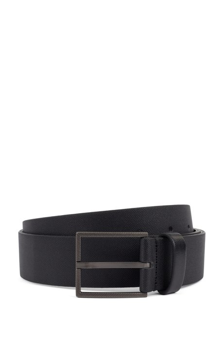 Italian-made belt in embossed leather with textured buckle, Black