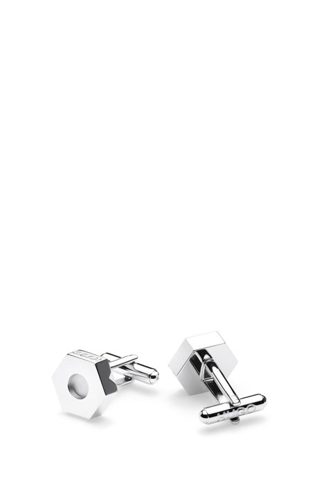 Nut-shaped cufflinks in polished brass with logo engraving, Silver