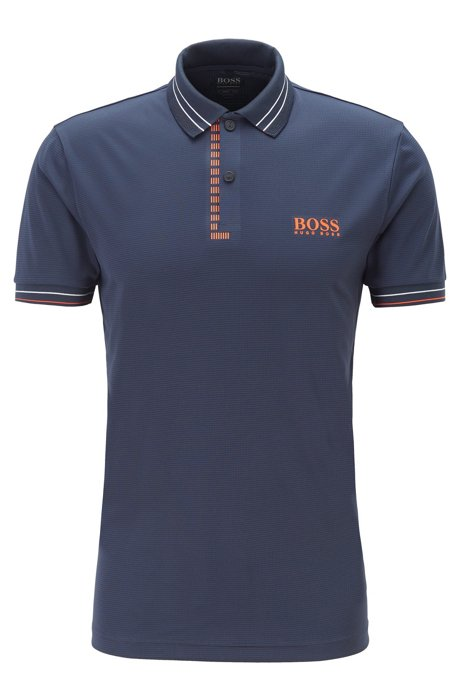 Slim-fit golf polo shirt in moisture-wicking structured fabric, Dark Blue