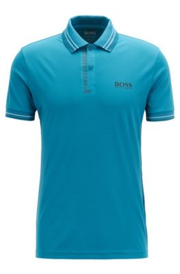 Slim-fit golf polo shirt in moisture-wicking structured fabric, Open Blue