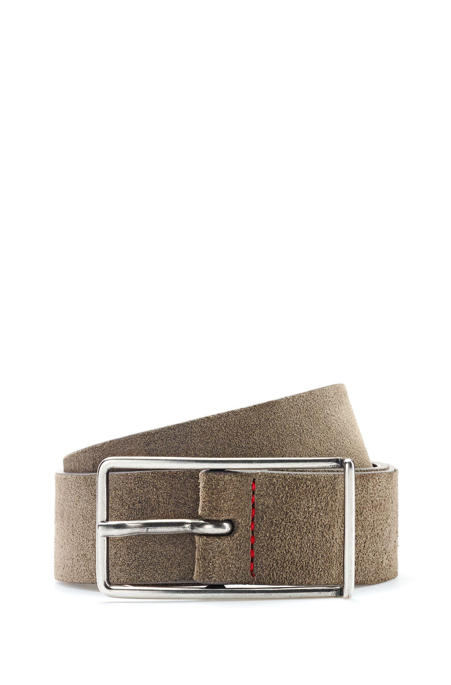 Slimline pin-buckle belt in Italian suede, Khaki