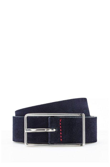 Slimline pin-buckle belt in Italian suede, Dark Blue