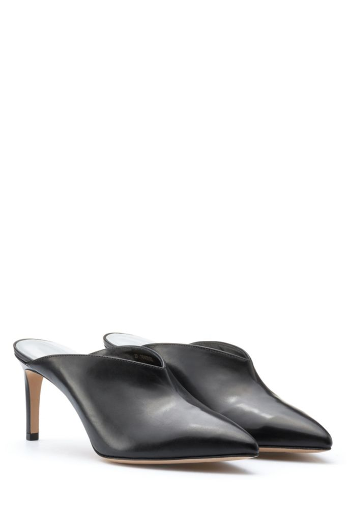 Pointed-toe mules in Italian calf leather