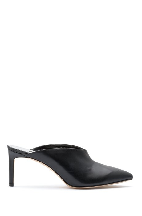 Pointed-toe mules in Italian calf leather, Black