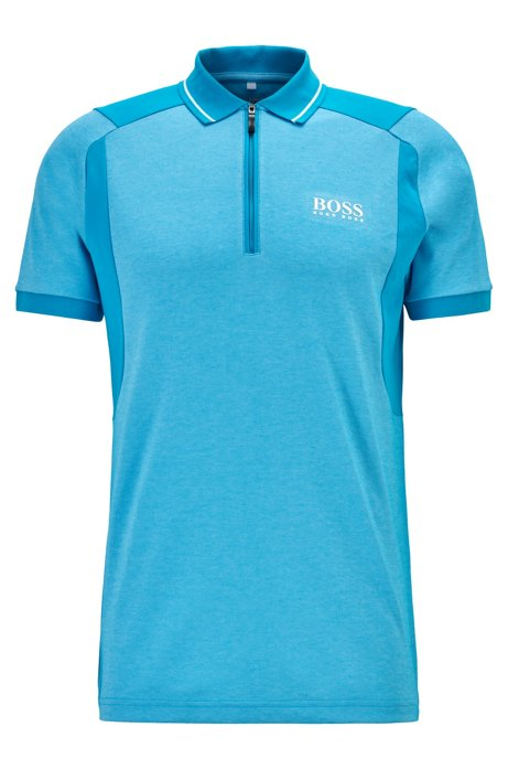 Golf polo shirt in moisture-wicking fabric, Light Blue