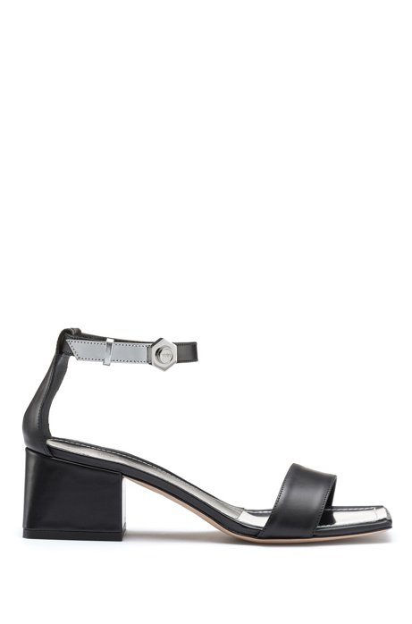 Heeled sandals in Italian leather with hexagonal buckle detail, Black