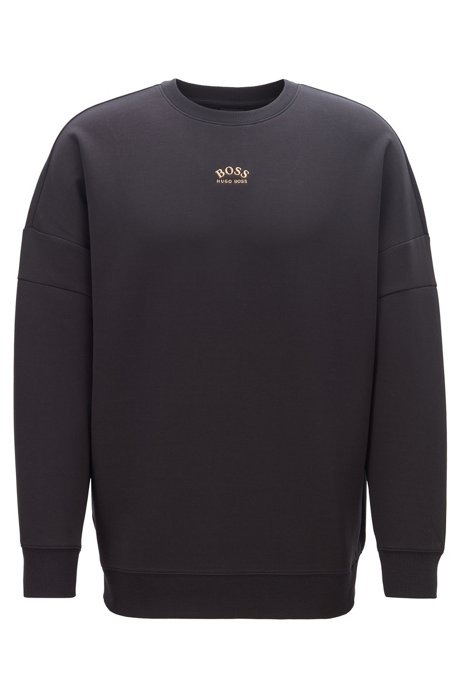 Relaxed-fit sweatshirt with curved logos, Black