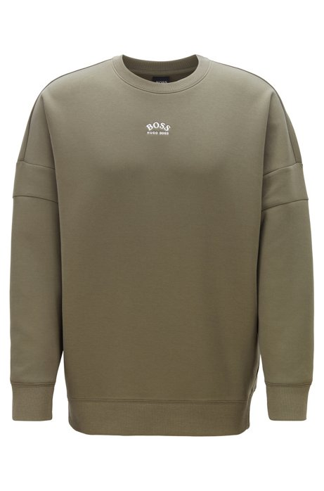 Relaxed-fit sweatshirt with curved logos, Dark Green