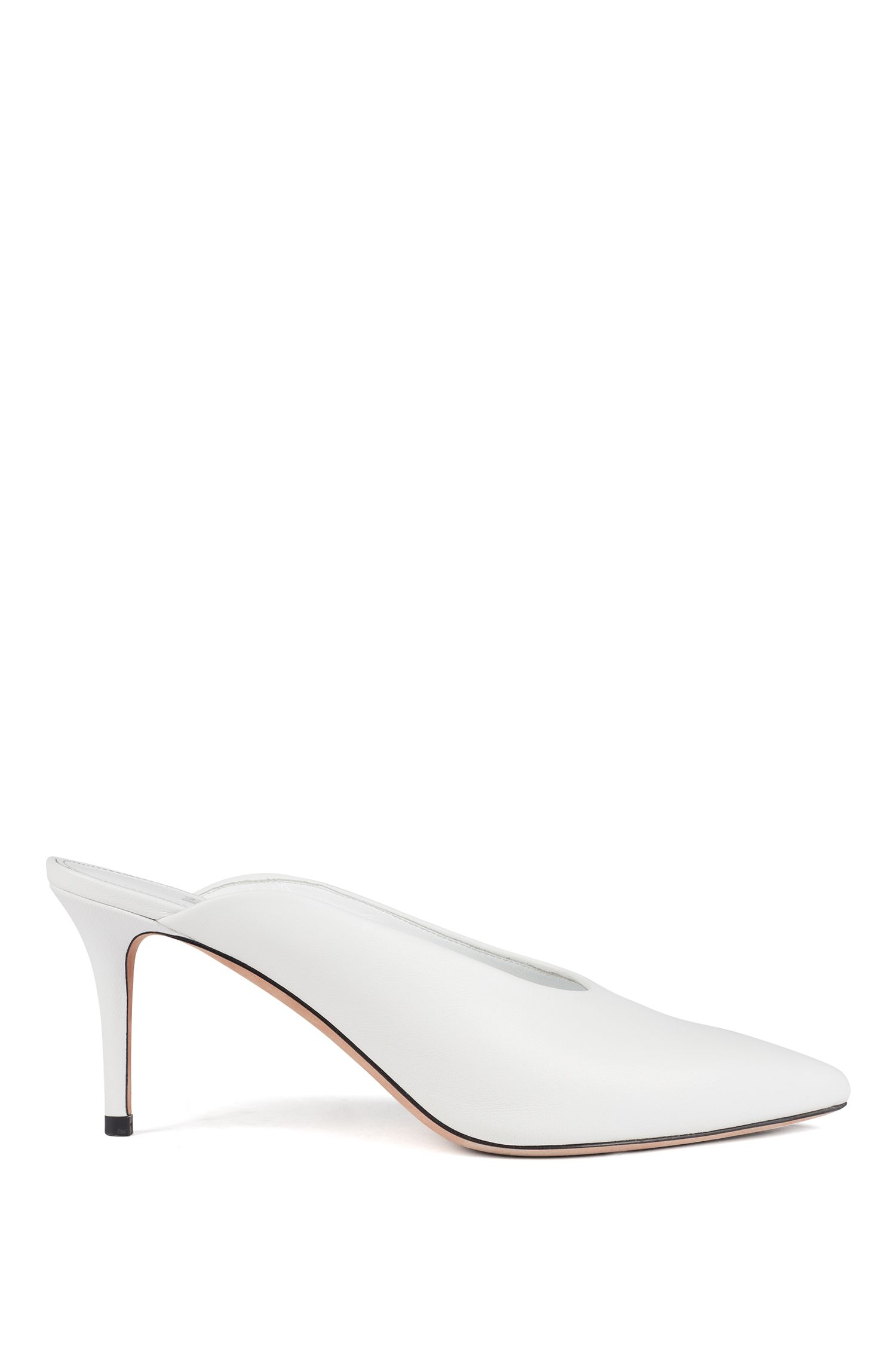 Mid-heel mules in Italian nappa leather, White