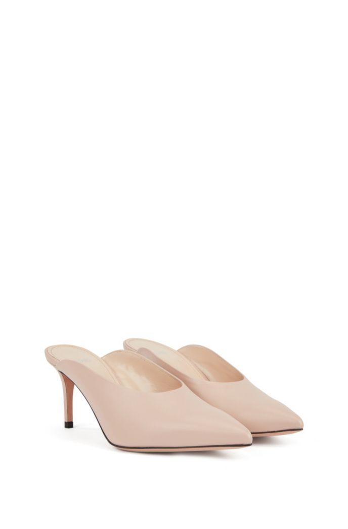 Mid-heel mules in Italian nappa leather