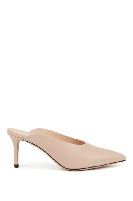 Mid-heel mules in Italian nappa leather, Light Beige