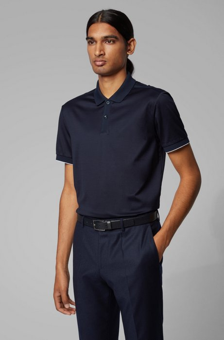 Slim-fit polo shirt with contrast shoulder panels, Dark Blue