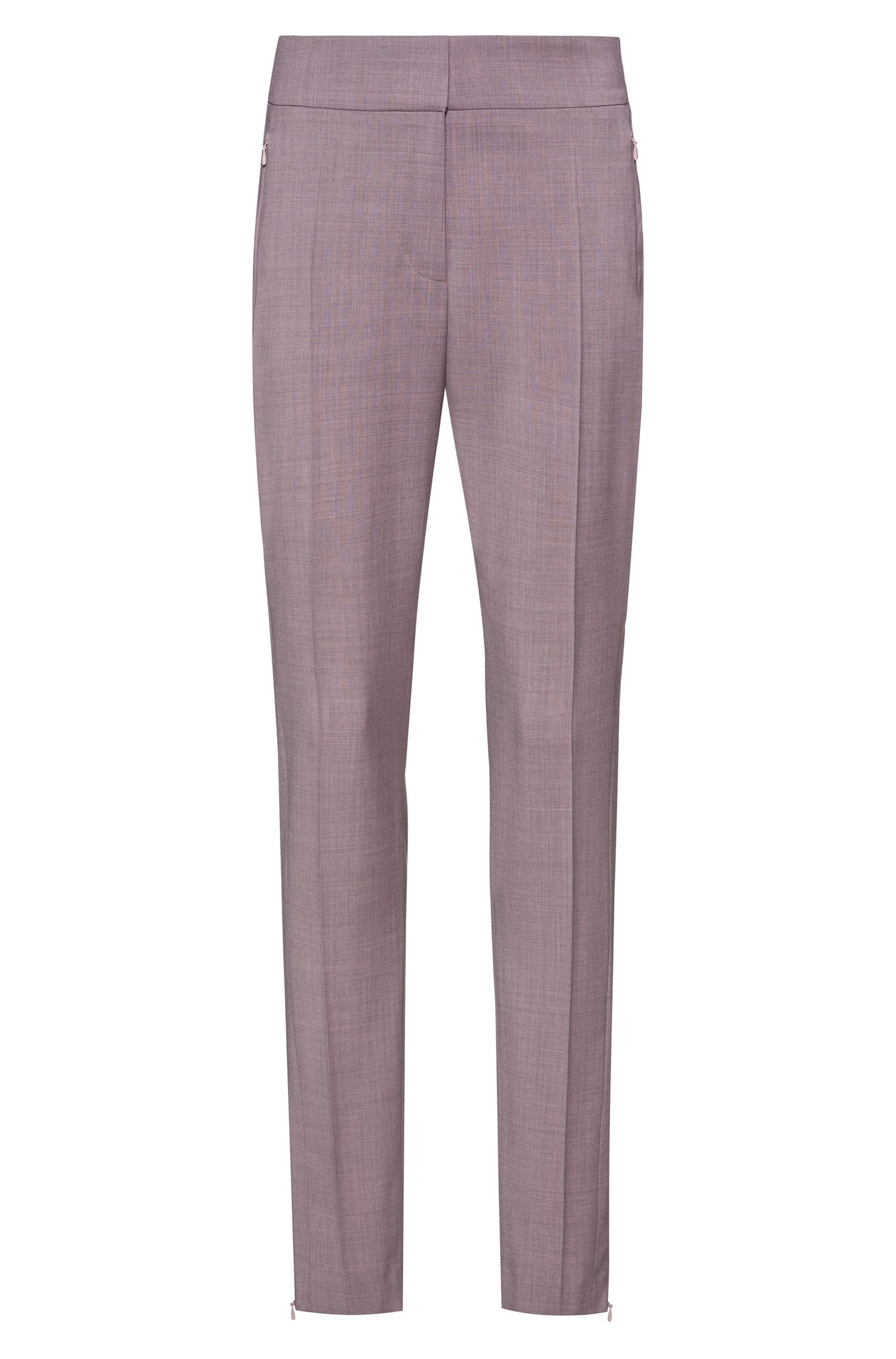 Fashion Show slim-leg pants with zippered hems, light pink
