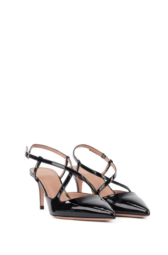 Cross-over slingback pumps in patent calf leather
