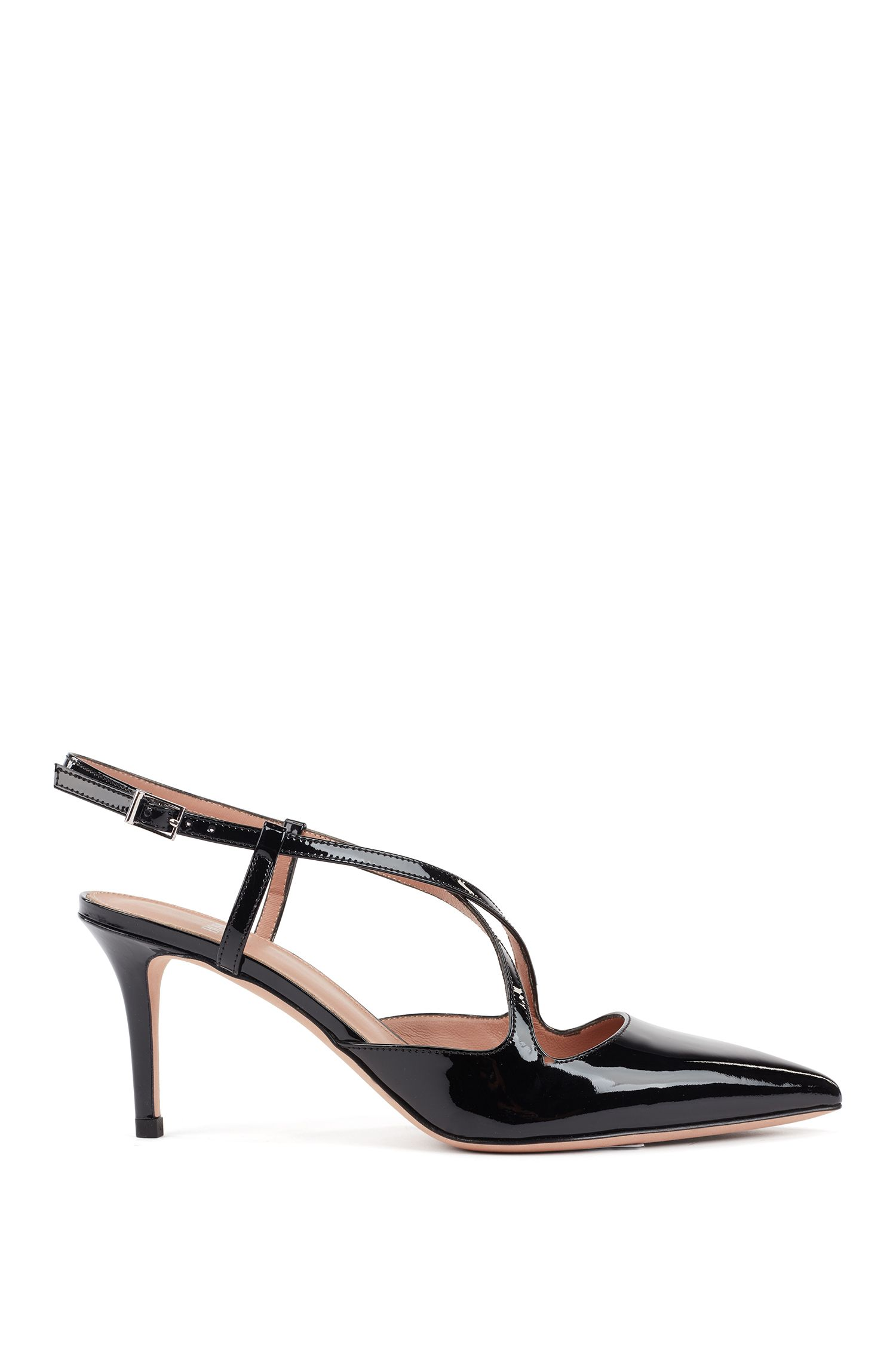 Cross-over slingback pumps in patent calf leather, Black
