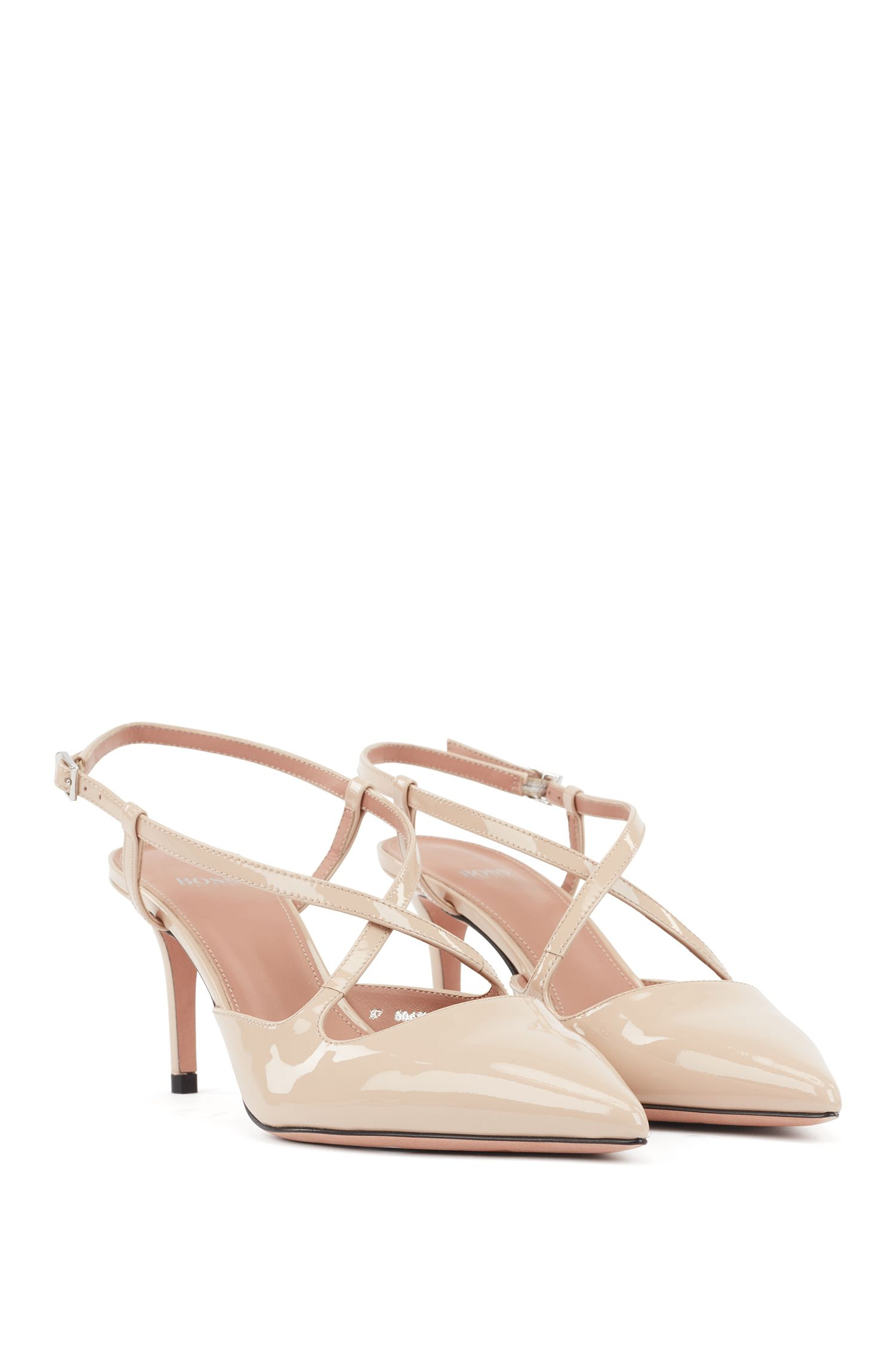 Cross-over slingback pumps in patent calf leather, Light Beige
