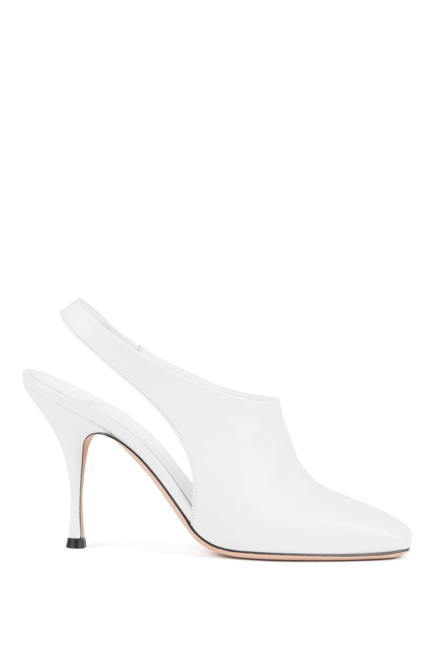 Open booties in Italian nappa leather, White