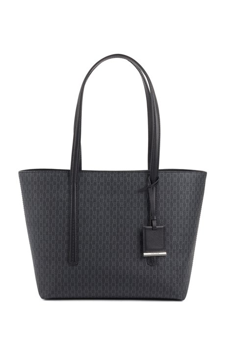 Shopper bag in lightweight fabric with monogram print, Black