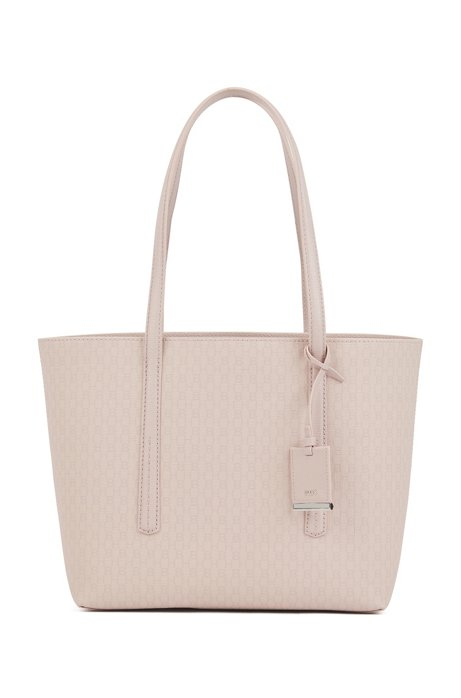 Shopper bag in lightweight fabric with monogram print, light pink
