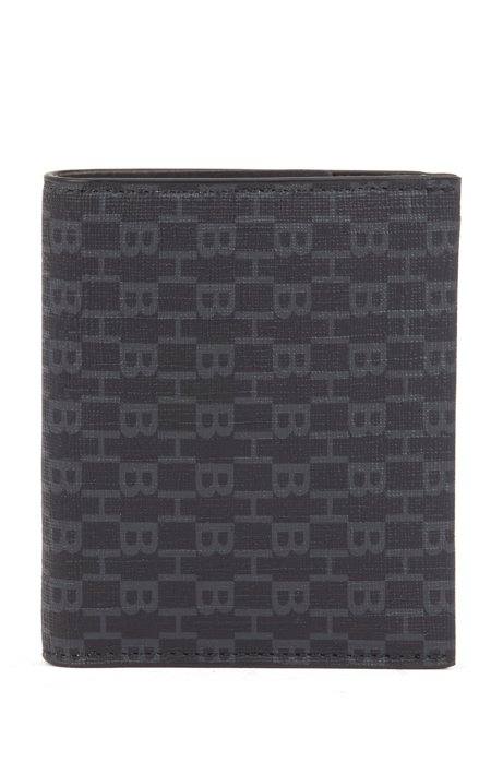 Zippered wallet in fabric with all-over monogram print, Black
