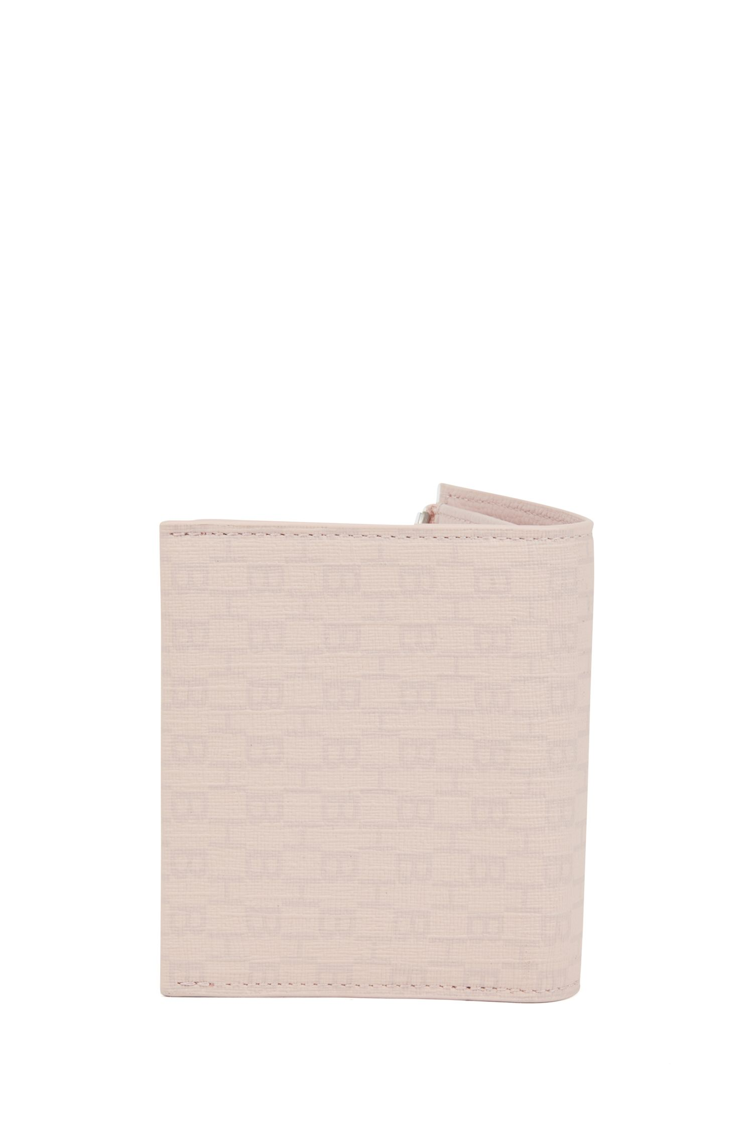 Zippered wallet in fabric with all-over monogram print, light pink