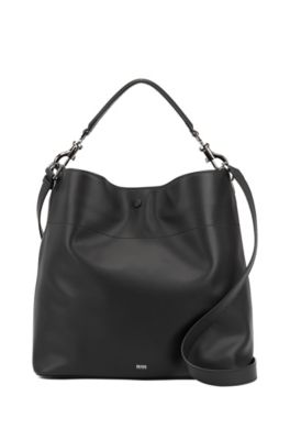 Italian-leather hobo bag with snap-hook hardware, Black