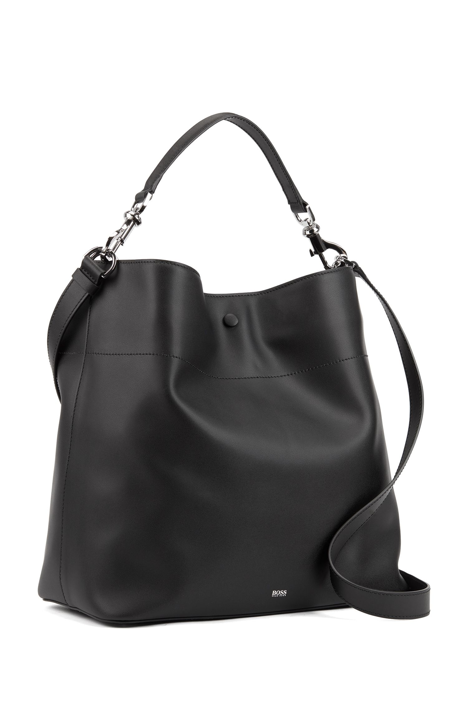 Italian-leather hobo bag with snap-hook hardware, Black