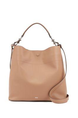 Italian-leather hobo bag with snap-hook hardware, Beige