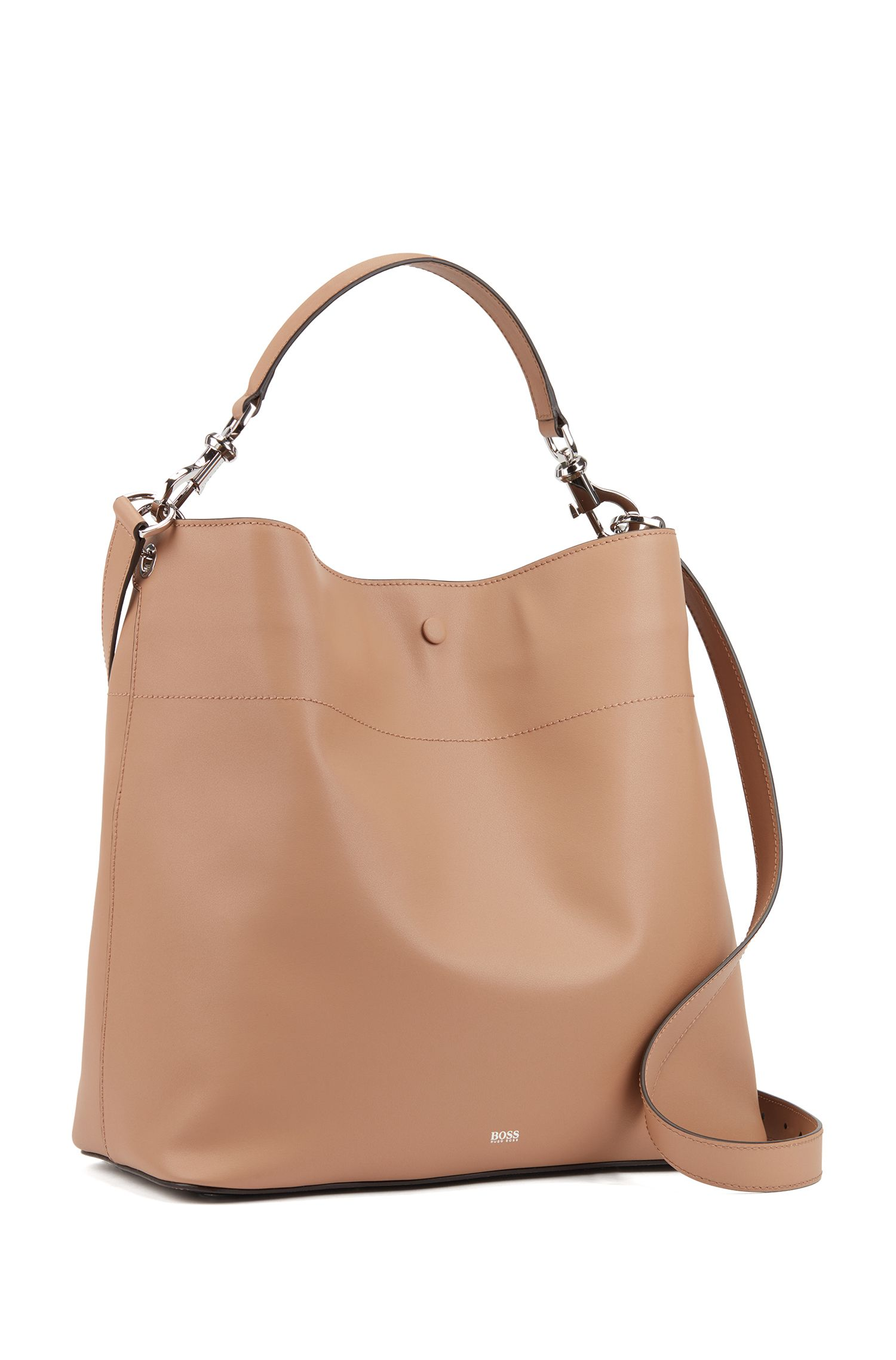 Italian-leather hobo bag with snap-hook hardware, Beige