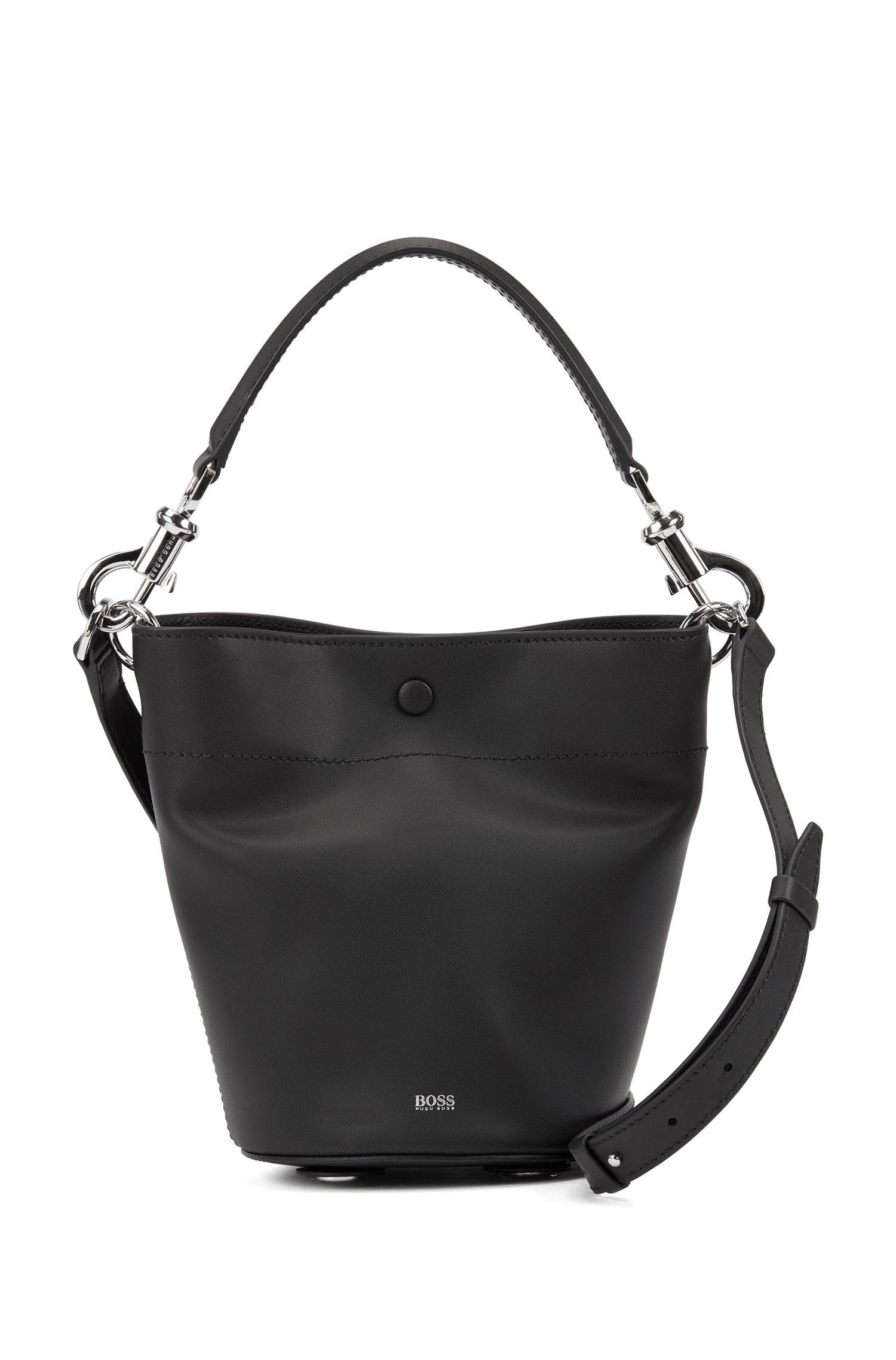 Italian-leather bucket bag with snap-hook hardware, Black