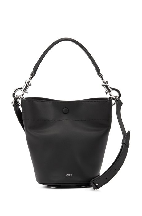 Italian-leather bucket bag with snap-hook hardware, Black