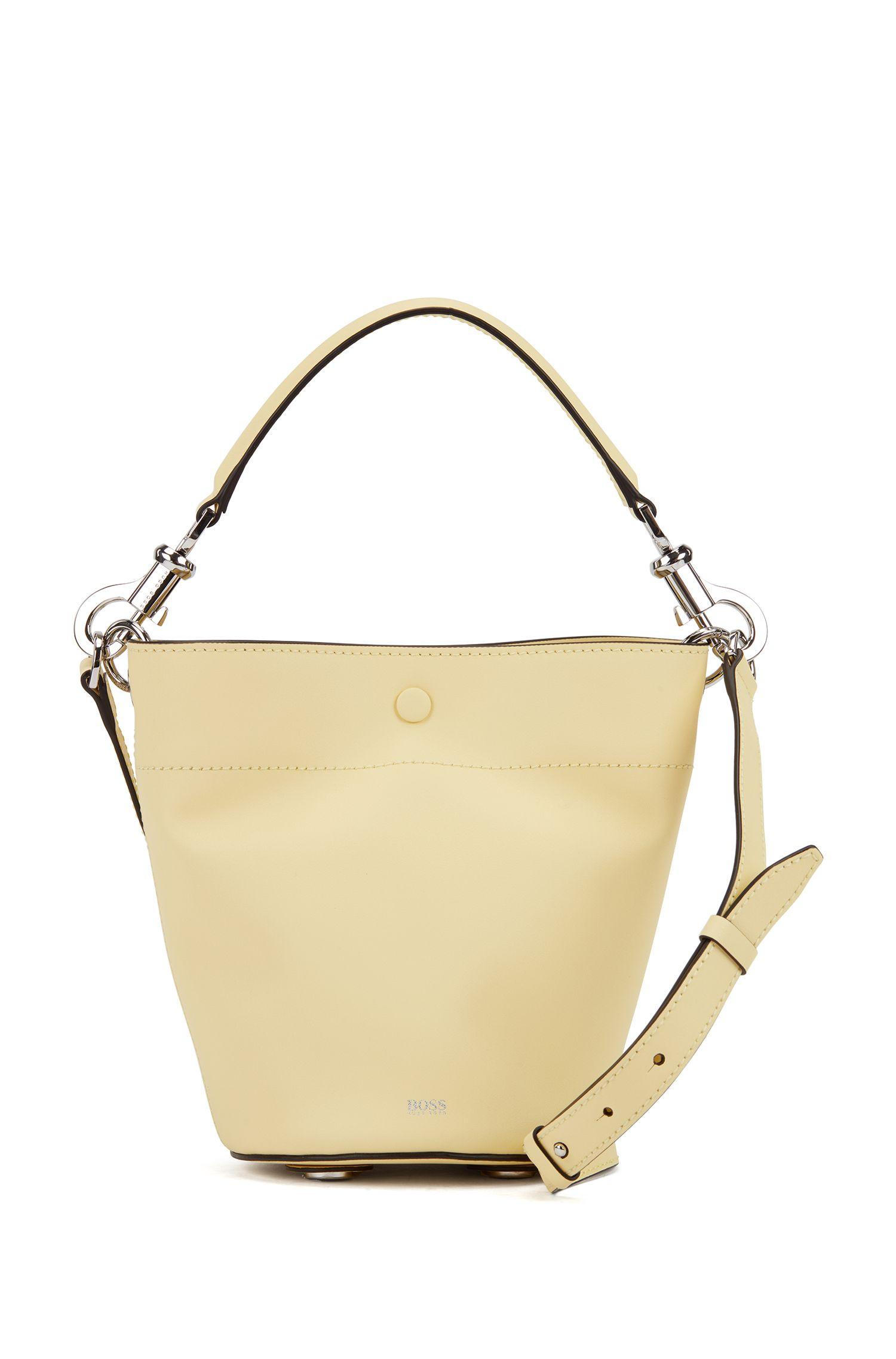 Italian-leather bucket bag with snap-hook hardware, Light Yellow