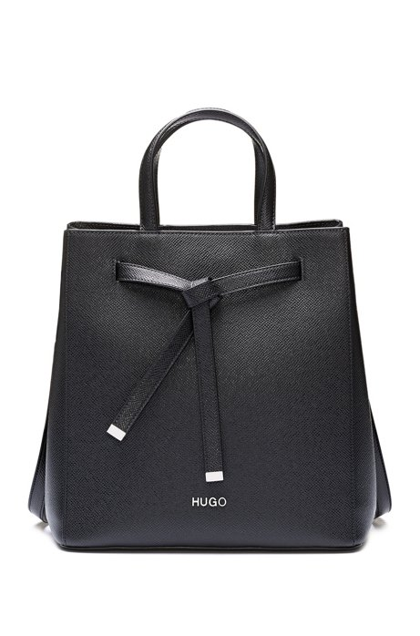 Bucket bag in Saffiano leather with drawstring detail, Black
