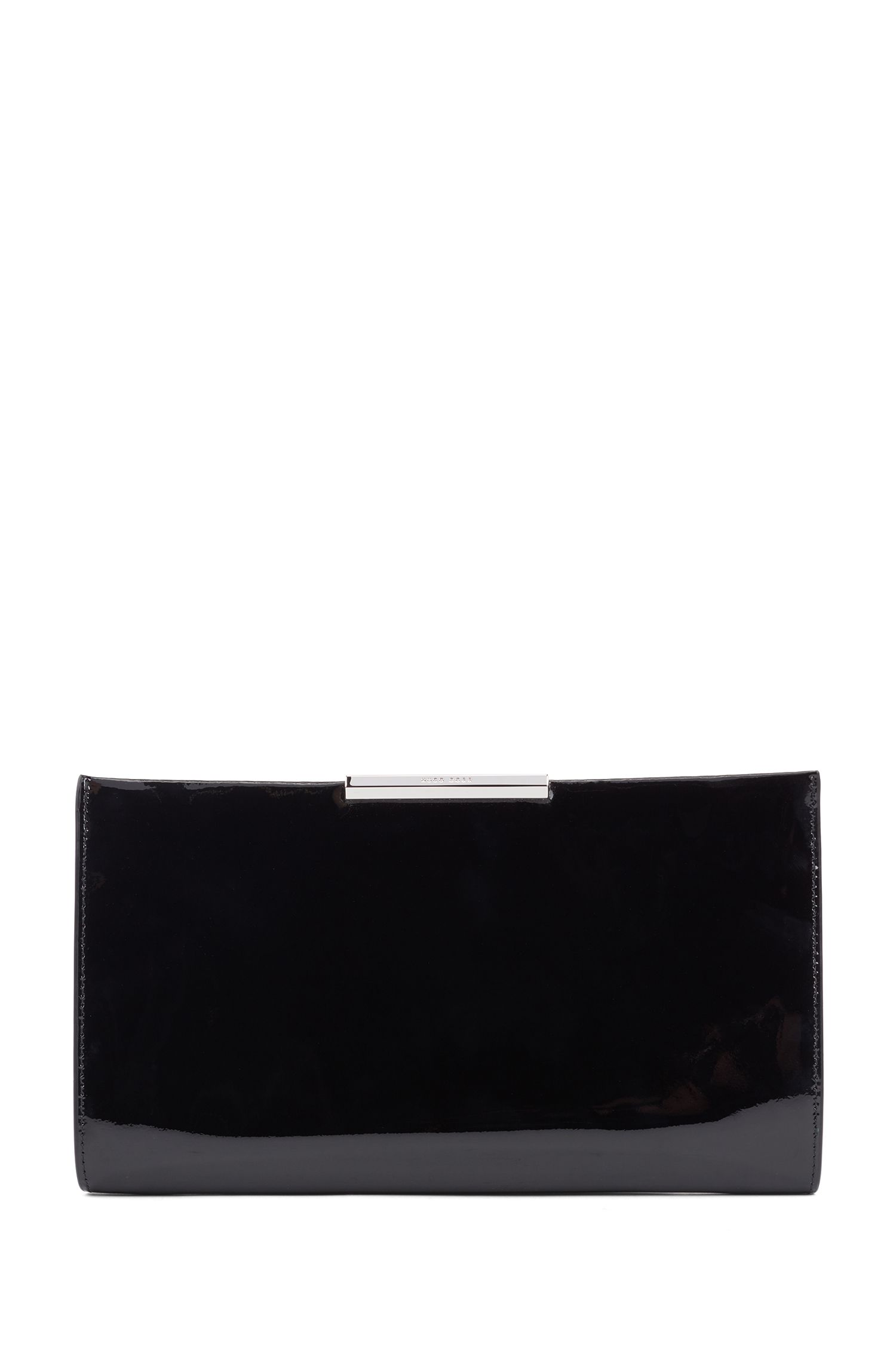 Patent-leather clutch with detachable chain strap, Black
