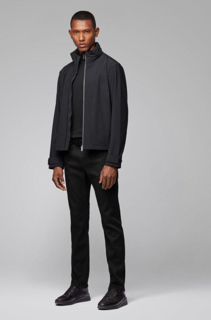 Water-repellent zip-through jacket with packable hood