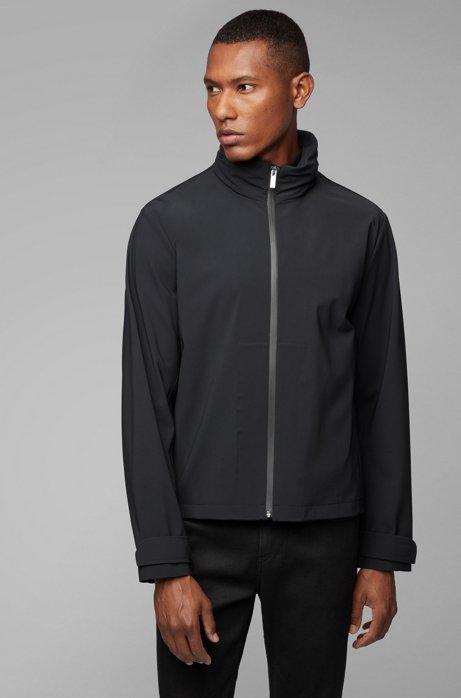 Water-repellent zip-through jacket with packable hood, Black