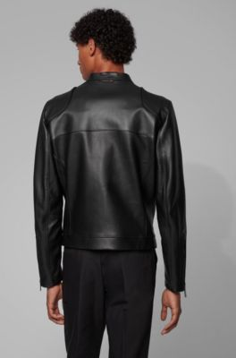 b0ffe6614 Bomber jacket in leather with vertical chest pockets