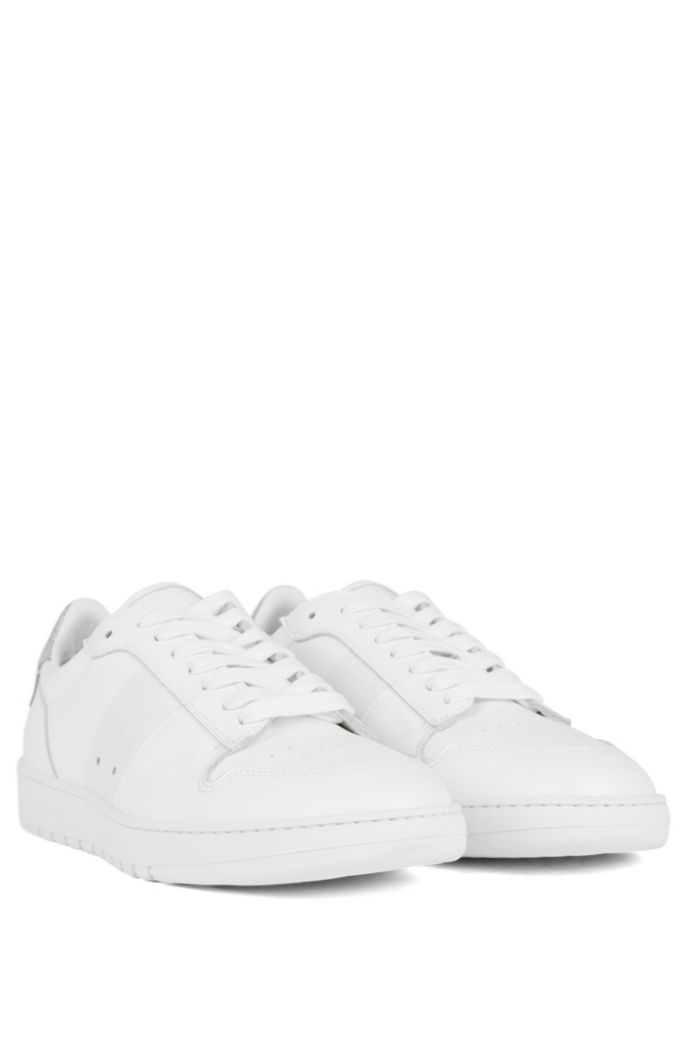 Low-top sneakers in calf leather with perforated details