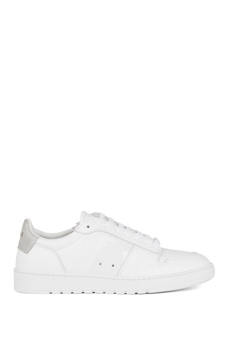 Low-top sneakers in calf leather with perforated details, White
