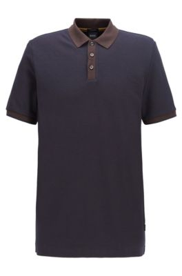 Two-tone polo shirt in micro check cotton jacquard, Dark Brown